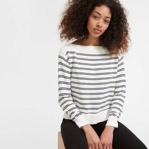 Everlane the Soft Cotton Boat Neck Sweater Stripe